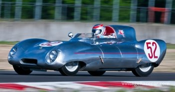 Group 1.  Ed Nigro (#52, 1956 Lotus Eleven) entering turn 12 during Saturday morning's qualifying race. Jeff Mach