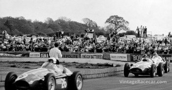 The 1965 International Trophy Race at Silverstone was the first time the 250Fs ran as historic racecars. Banks leads Lindsey followed by Atwood. Headline BRDCArchive Author