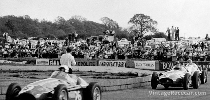 The 1965 International Trophy Race at Silverstone was the first time the 250Fs ran as historic racecars. Banks leads Lindsey followed by Atwood. 