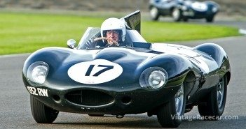 Gary Pearson stretches his and the D-type JaguarÕs legs during a Goodwood Revival.