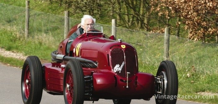 Rick Hall tests the famed Alfa Romeo ÒBimotoreÓ, which he restored and maintained for client and friend Tom Wheatcroft.