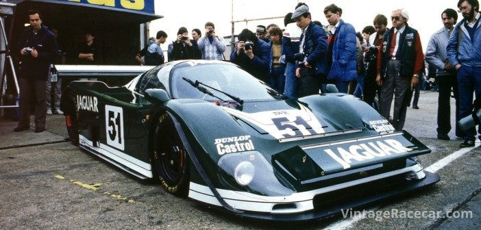 SouthgateÕs sleek Jagusr XJR-6 draws a crowd in the paddock at Brands Hatch for the World Endurance Championship round in September of 1985.Photo: Pete Austin