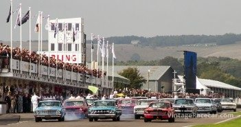 Start of the Shelby Cup race for pre-66 small-block V8 saloons.Photo: Roger Dixon