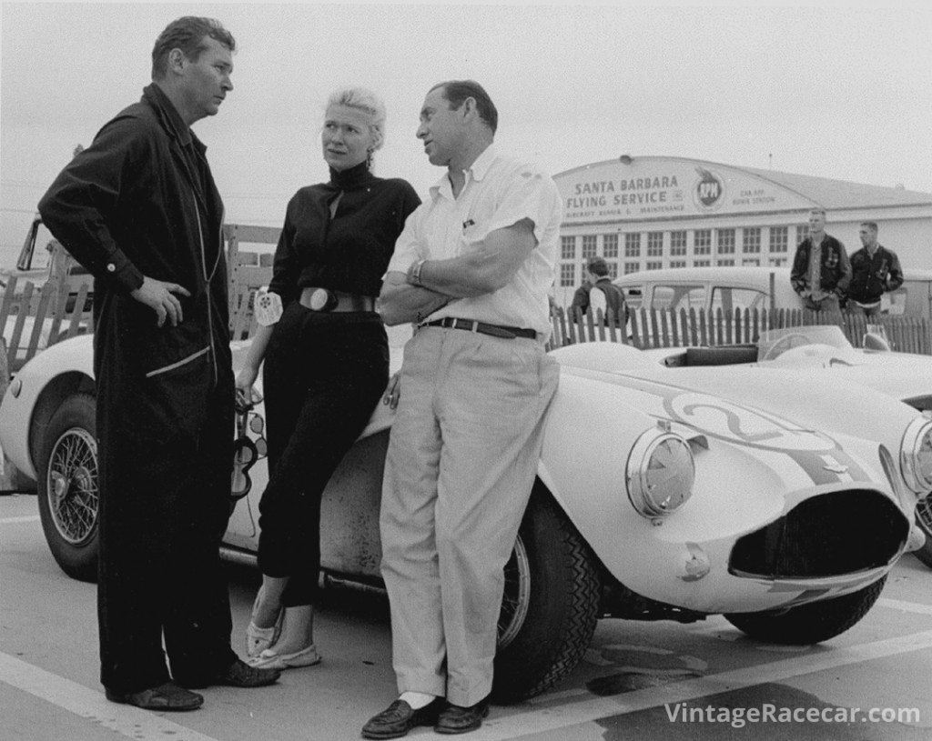Bob Drake (left) campaigned Astons for wealthy-sportsman Joe Lubin (right) during the late fifties on the West Coast. DrakeÕs wife at the time, Mary Davis (center) usually won the ladiesÕ races in the same car.   Photo: Art Evans