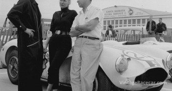 Bob Drake (left) campaigned Astons for wealthy-sportsman Joe Lubin (right) during the late fifties on the West Coast. DrakeÕs wife at the time, Mary Davis (center) usually won the ladiesÕ races in the same car.   