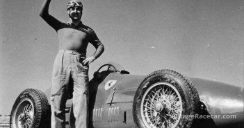 His signature sky blue helmet firmly strapped to his head, Alberto Ascari poses for a Pirelli publicity picture before the 1952 Italian GP at Monza. Photo Pirelli