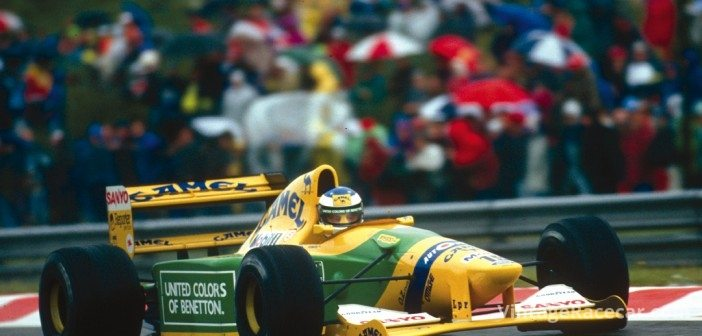Much of BrawnÕs success has come courtesy of Michael Schumacher, seen here in 1992 at Spa, winning his first Grand Prix with the Benetton B192.