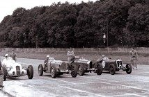 E.R. ÒEddieÓ Hall drives a 746-cc MG Midget to victory in the first auto race run at Donington Park, in England (1933).Photo: Ferret Fotos