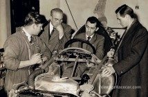 Around a Cooper chassis in 1957 (left to right) are Robinson, Alfred Moss, Stuart Lewis-Evans and Ken Gregory.Photo: Tony Robinson Collection