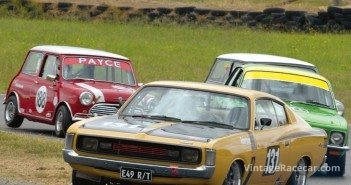 Craig RobertsonÕs 1971 Valiant Charger with the Holden Torana XU-1 of Noel Roberts close behind. 