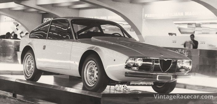 For the 1969 Turin Auto Show, this Zagato-bodied Alfa 1300 GT Junior sported transparent plastic headlamp covers and a rear window that opened electronically for ventilation.