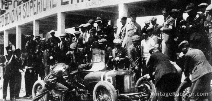 Aymo MaggiÕs Maserati makes a pit stop at the ÒFloriopoliÓ pit complex, during the 1927 Targa Florio.