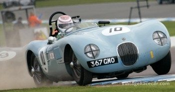 Rich and ButlerÕs Jaguar C-Type uses all the road. 