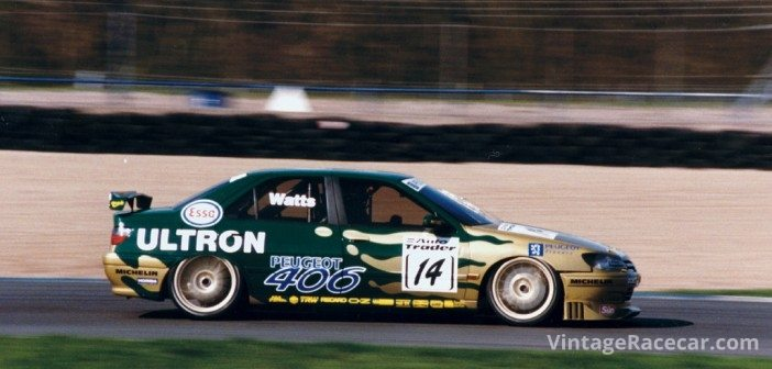 Patrick Watts in the Peugeot 406 at Donington in 1997.Photo: Pete Austin