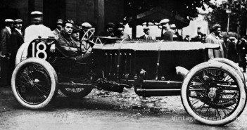Prior to 1914 French GP, de Palma waits in the cockpit of his Vauxhall.