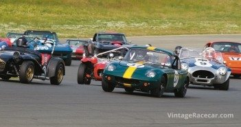 Michael Malone runs with the pack in his 1965 Lotus 26R (#37).Photo: Brad Fox