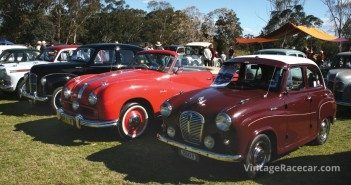An Austin A90 Atlantic next to a drophead Austin A30.