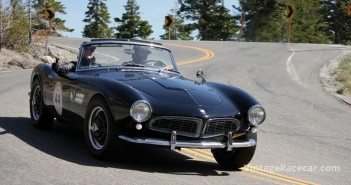 1957 BMW 507 of Scott Morris and Rochelle Jensen circles Lake Tahoe on Day 2.