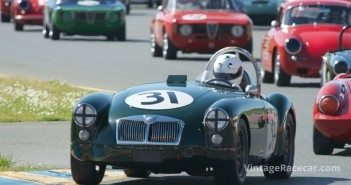Ed Lamantia's 1962 MGA leads a pack of group 2 cars. DennisGray