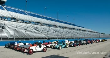 The full field lines up four-wide at the Start/Finish line.Photo: Fred Sickler