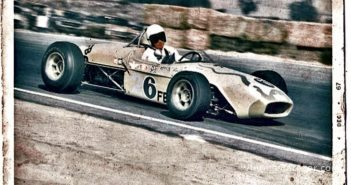 Period shot shows Stokes and his Lotus at speed, racing  at Riverside.