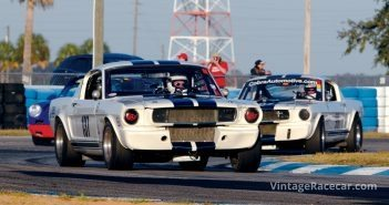 Dueling Shelby GT350s, as Chuck Bentley leads Gary Moore.