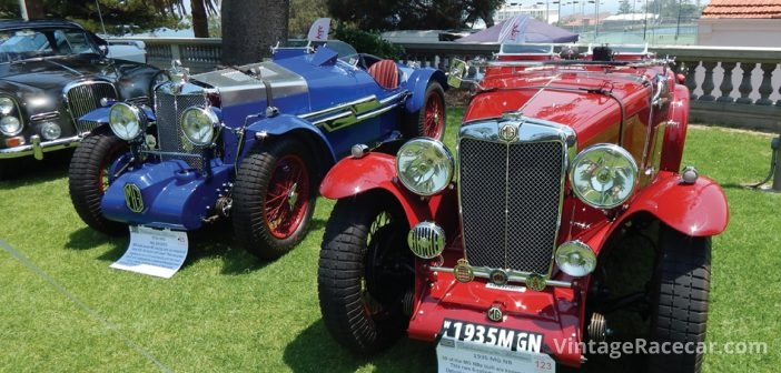The blue 1934 MG NA (replica) next to 1935 MG NB.