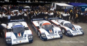 1982 Porsche team at Le mans. Photo: Porsche-Werkfoto
