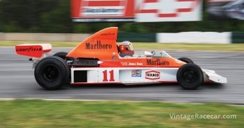 Greg Galdi's McLaren M-23-Ford enters the back straight.Photo: Fred Lewis