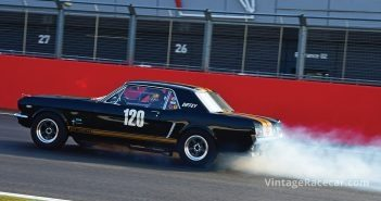 Simon Diffey gets the Mustang away from the braking test. Photo: Peter Collins