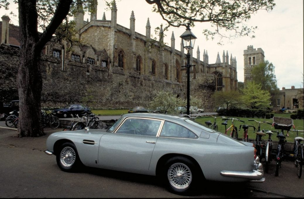 Bond's DB5 parked up while he has a lesson with Professor Inga Bergstrom at Oxford University.