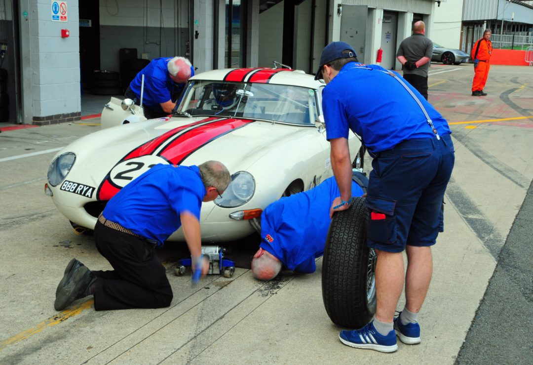 Puncture causes problems for Barry Wood E Type.