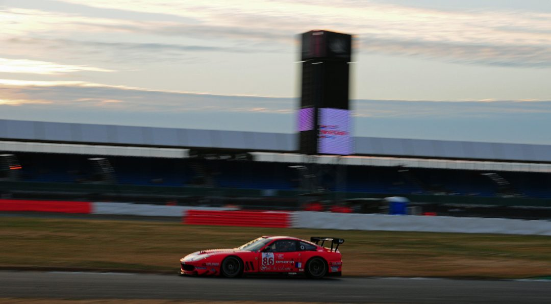 Steve Zacchia at twilight in Ferrari 550 GT1.