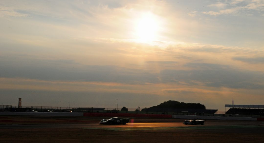 Sun sets over Lola T70 Coupe of Gary Culver at Becketts.