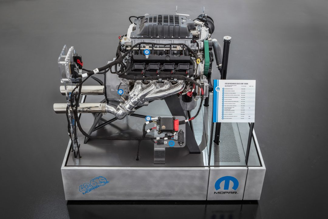 "The ""Hellephant"" 426 Supercharged Mopar Crate HEMI® Engine is a Mopar-first for a 1,000 horsepower crate engine kit offered by an Original Equipment Manufacturer (OEM). FCA US LLC"