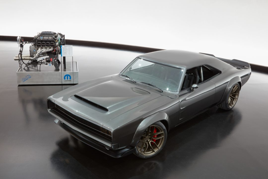 "The 1968 Dodge ""Super Charger"" Charger Concept incorporates modern touches, including the new 1,000 horsepower ""Hellephant"" 426 Supercharged Mopar Crate HEMI® Engine, shown in background, to reimagine one of the most iconic vehicles ever built by FCA US. FCA US LLC"