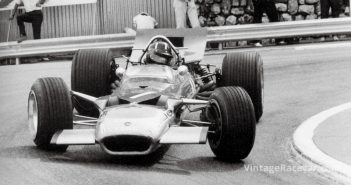 Graham Hill drives Lotus 49 to victory in the Monaco Grand Prix (1969).