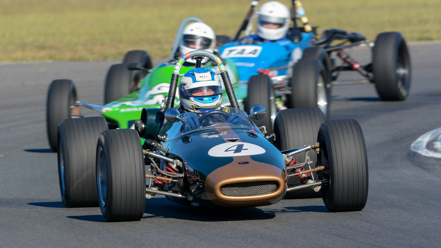 Peter Williams leading in his Brabham BT21A. Ian Welsh