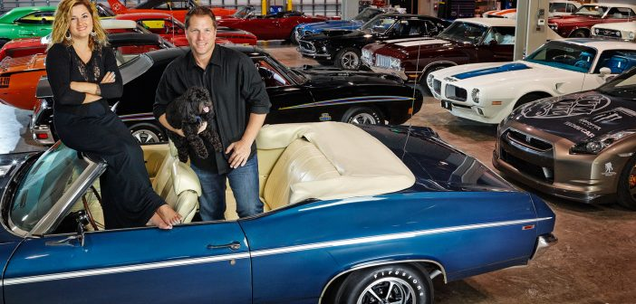 Brian Styles and Samantha with muscle car collection Jeffery A. Salter