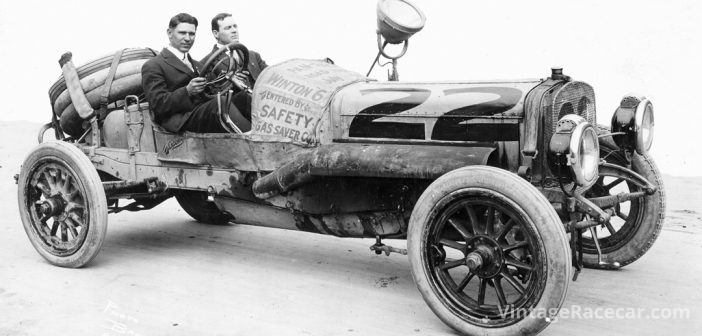 Frank Verbeck drives his Fiat to victory in the Pan-Pacific Road Race (1913).