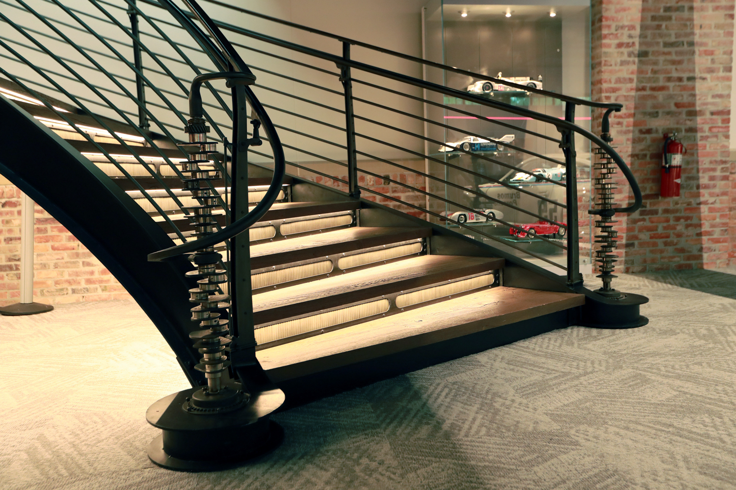 The stairs feature stanchions made from four Porsche 911 crankshafts.