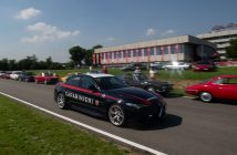 Fans gather at the Alfa Romeo Museum in Arese, Italy, to celebrate the brand's 110th anniversary Stefano Arcari