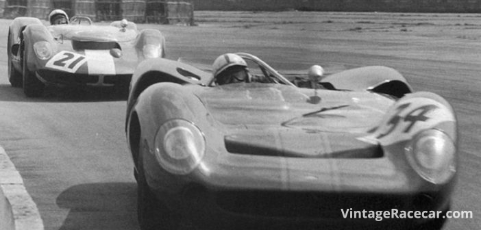 The Lola T70 spyder makes its race debut at Silverstone, England (1965).