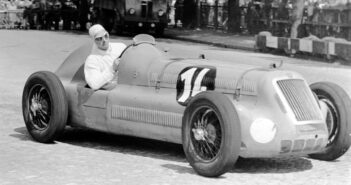 Maurice Trintignant behind the wheel of a Delage during the 1947 Swiss GP.